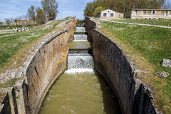 Canal castilla locks in Fromista Royalty Free Stock Photography