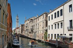 Canal in center of Venice. Romantic canal in center of Venice. Italy Stock Photos