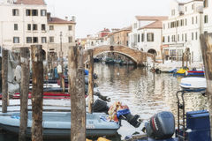 Canal in Chioggia with historical Buildings Royalty Free Stock Photos