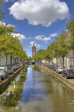 Canal and Church in Delft Royalty Free Stock Photo