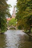 Canal and Church of Our Lady, Bruges Stock Images