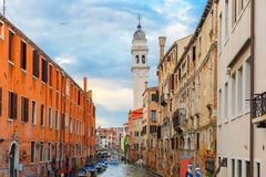 Canal and church at twilight in Venice, Italy Royalty Free Stock Photo