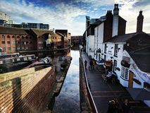 Canal in city of Birmingham. Elevated view of canal in city of Birmingham, England Stock Photography