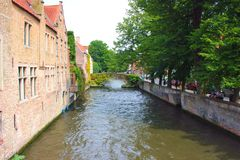 Canal in the city of brugge Stock Photos