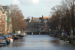 Canal in the city center of Amsterdam Stock Images
