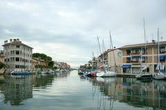 Old fisherman boat in the city centre of Grado Friuli-Venezia Giulia Italy in the evening. Stock Image