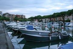 Old fisherman boat in the city centre of Grado Friuli-Venezia Giulia Italy in the evening. Stock Images