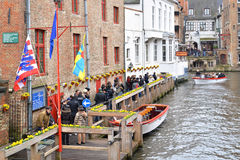 Canal city tour in Bruges, Belgium Stock Photo