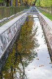 Canal closeup with autumn tree reflection in water Stock Photos