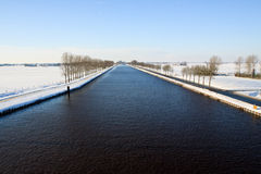 Canal in a cold white winter landscape Stock Image