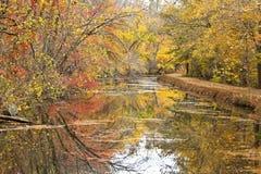 Canal coloré d'Autumn Foliage By C&O Images libres de droits