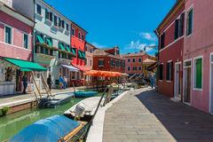 Canal and colorful buildings in Burano island, Venice Royalty Free Stock Photo
