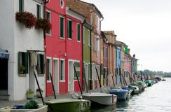 Canal of the Colorful Burano Venice Italy stock photos
