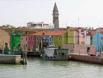 Canal of the Colorful Burano Venice Italy royalty free stock photos