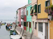 Canal of the Colorful Burano Venice Italy royalty free stock image