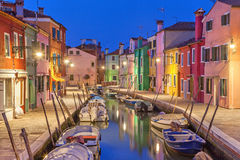Canal and colorful houses on Burano Island Royalty Free Stock Photography
