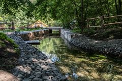 Canal com água fresca para o moinho de água fotografia de stock royalty free
