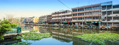 Canal and commercial buildings Stock Photography