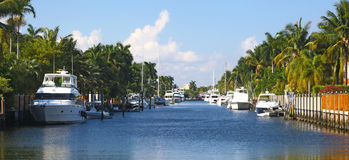 Canal & yachts in Fort Lauderdale, Florida Royalty Free Stock Photography