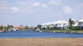 Canal Condos, Punta Gorda Florida. Condos line a canal with docks in Punta Gorda Florida stock photography