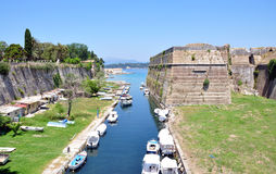 Canal in Corfu, Greece. Canal around the ancient fortress city of Corfu, Greece Royalty Free Stock Images