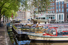 Canal Cruise Boats in Amsterdam Royalty Free Stock Photos