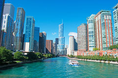 Canal cruise on the Chicago river with buildings and skyscrapers skyline and the Trump tower Royalty Free Stock Image