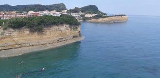 Canal d amour at Corfu island, Greece. Corfu, Canal d amour at Corfu island, Greece, the best beaches in corfu, gardenos beach corfu, marathias beach, paradise royalty free stock images