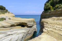 Canal d`amour in Sidari. Corfu island in Greece Royalty Free Stock Photography