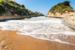 Canal d'amour  with waves on Corfu island Royalty Free Stock Photo