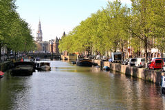 Canal d'Amsterdam, Pays-Bas Photo stock