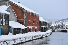Canal d'Otaru sur le ‹neigeux blanc Hokkaido d'†de ‹d'of†de ‹de winter†de ‹de the†de ‹d'in†de ‹de jour de with†photographie stock