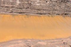 Canal da costa do solo do fundo com água amarela Foto de Stock