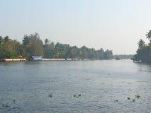 Canal da maré, Kerala, Índia Fotografia de Stock Royalty Free