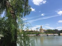 Canal de Alfonso XIII. With the Torre del Oro in Seville Spain Stock Image