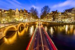 Canal de Amsterdam, los Países Bajos foto de archivo libre de regalías