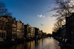 Canal de Amsterdam y las casas del canal Foto de archivo