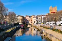 Canal de Canal de la Robine à Narbonne, France Images stock