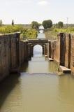 Canal de Castilla in Fromista, Palencia, Castilla-Leon, Spain Santiago road Stock Photos