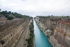 Canal de Corinth como se realiza no inverno imagens de stock