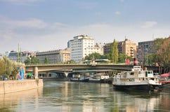 Canal de Danúbio viena Áustria Foto de Stock