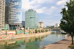 Canal de Danubio viena austria Imagen de archivo libre de regalías