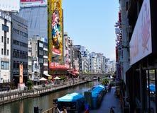 Canal de Dotonbori em Namba, Osaka, Japão Imagem de Stock