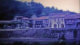 1969: Canal de Garonne river bridge looks brand new. stock footage