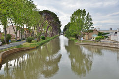 Canal de Jonction at Salleles d`Aude Royalty Free Stock Photography