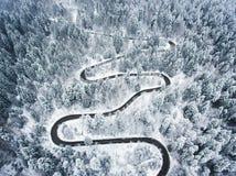 Canal de la carretera con curvas el bosque en el invierno fotos de archivo
