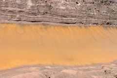 Canal de la costa del suelo del fondo con agua amarilla Foto de archivo