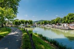 Canal De la Garonne dans Moissac, France Images stock