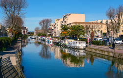 Canal de la Robine channel in Narbonne, France Stock Photos