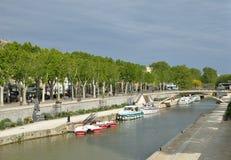 Canal de la Robine a Narbona immagine stock libera da diritti